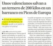 Espeleólogos picanyeros salvan un ternero de 200 kg en Picos de Europa