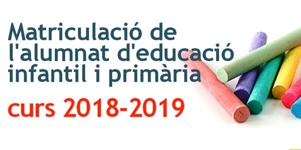 Arranca el procés de matrículació per l'alumnat d'infantil i primària per al nou curs