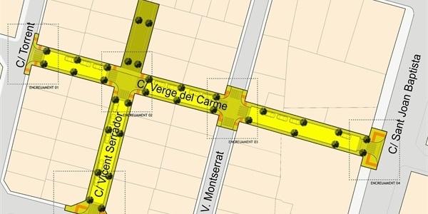 Obres de renovació de la xarxa d'aigua potable i millora d'accessibilitat als carrers Verge del Carme i Vicent Serrador