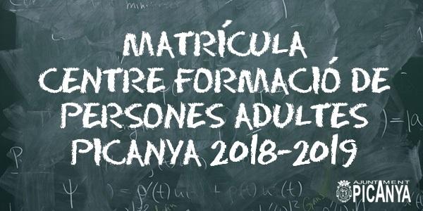 El Centre de Formació de Persones Adultes de l'Ajuntament de Picanya obri matrícula