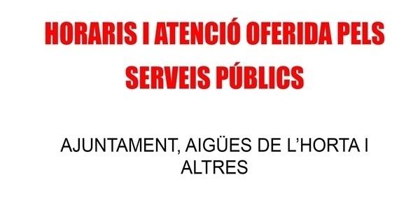 Horaris (i formes) d'atenció dels serveis públics