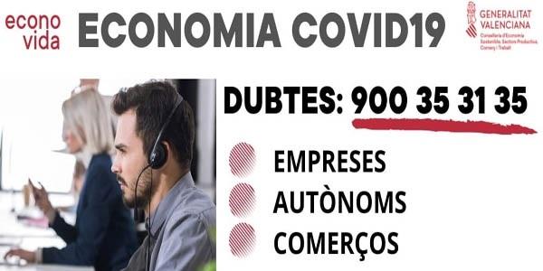 900353135 telèfon de la Conselleria d'Economia per a atendre dubtes d'empreses, autònoms i comerços pel coronavirus