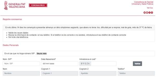 La Conselleria de Salut obri una web per a sol·lictar cita en cas de presentar símptomes de coronavirus