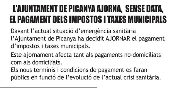 L'Ajuntament de Picanya ajorna, sense data, el pagament d'impostos i taxes municipals