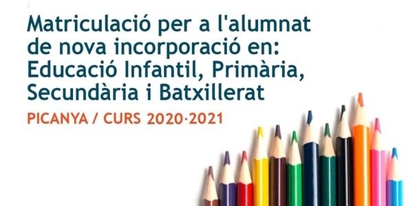 Arranca el procés de matriculació per a l'alumnat de nova incorporació en Educació Infantil, Primària, Secundària i Batxillerat